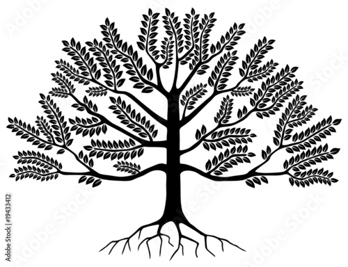 Arbre (Tree Silhouette Symbole Logo Dessin Illustration Vecteur)