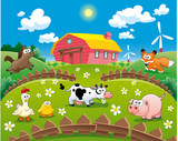 Fototapety Farm illustration. Funny cartoon and vector scene.