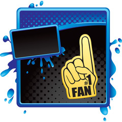 fan hand blue and black halftone grungy advertisement