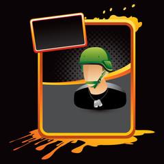 army man orange splattered advertisement