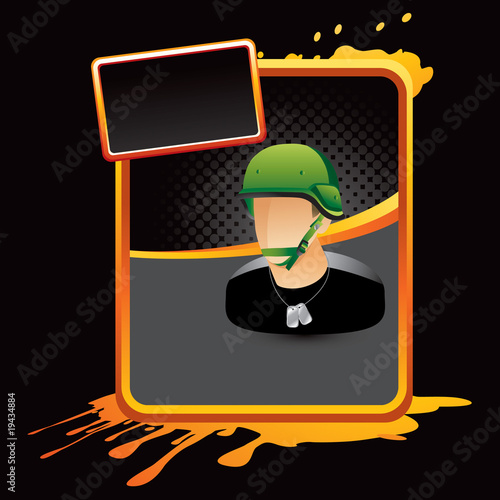 army man orange splattered advertisement