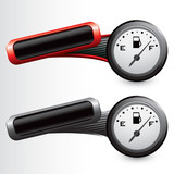gas icon red and gray tilted banners poster