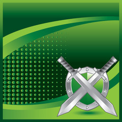 crossed swords and shield green halftone template