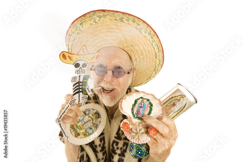 Man selling kitsch tourist items