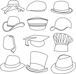 Lots of Hats Line Style Drawing