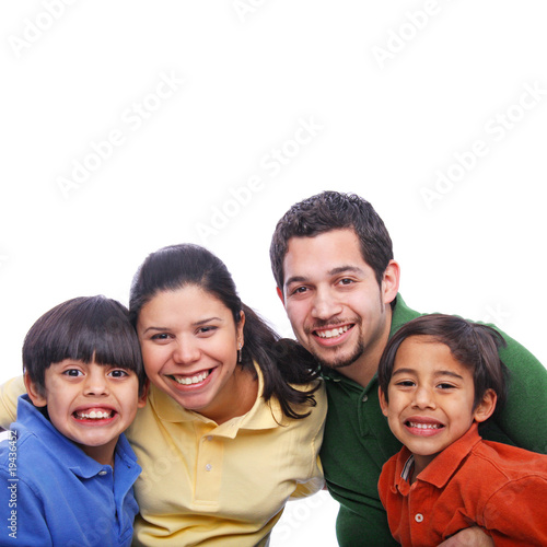 Happy family wearing colorful casual clothes