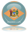 Delaware State Round Flag Button (USA Vector Reflection America)