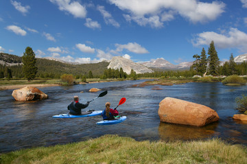 kayaking in river, yellowstone national park