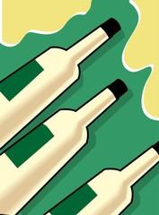 Illustration of liquor bottle and goblet of wine
