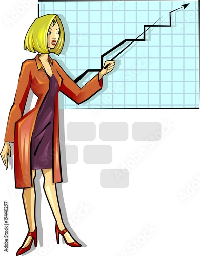 business women study with the class and graph design