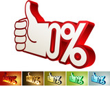 Symbol of discount or bonus on stylized hand poster