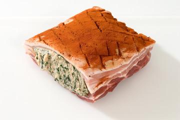 Fleisch,Schwein, Schweinebauch mit Spinatfuellung