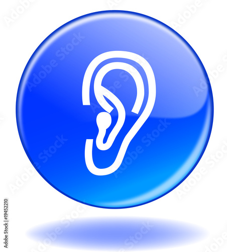 "Illustration: Bouton ""Ecouter"" / ""Listen"" Button (ear - symbol - play)"