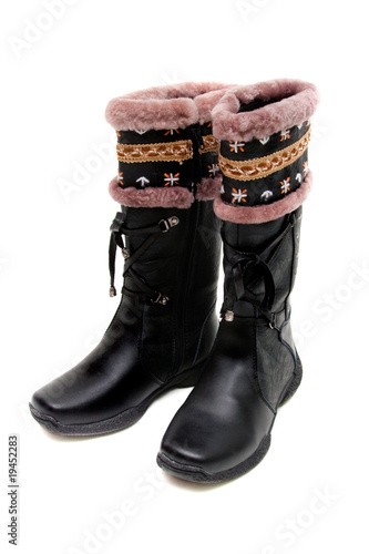 """black winter boots for teen girls Isolated on white ..."