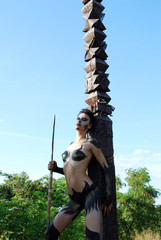 barbarian girl with spear