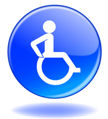 """Disabled Symbol"" button (vector - blue - disablity - handicap)"