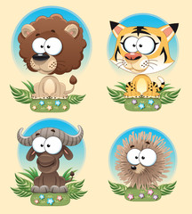 Funny Animal of Africa. Cartoon and vector characters.