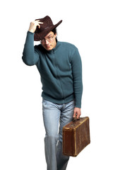 Yong jew male on hat with grunge suitcase