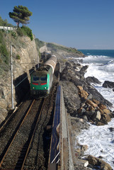 The railway line on the coast of Liguria, Italy
