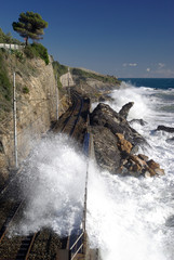 The railway line on the coast of Liguria, Italy