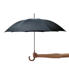Hand and arm holding black umbrella