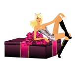 beautiful girl in a suit tigress sit on a gift poster