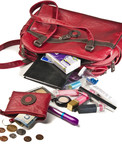 Necessary things in red woman handbag
