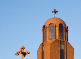 Setting winter sun illuminates Coptic Church