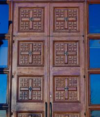 Ornate carved doorway of Coptic Church