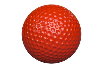 Red golfball isolated on white including clipping path