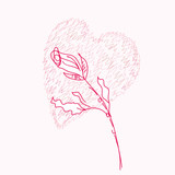 Rose and heart pink background