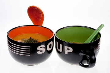 Two bowls of hot soup