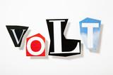 mot volt lettres découpées mot en papier relief poster