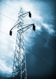 long lines of powerline towers poster