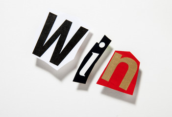 mot win victoire lettrage relief