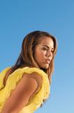 Beautiful MultiRacial model yellow dress poster