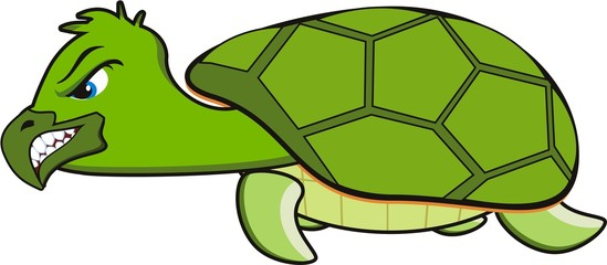 vector cartoon of a green angry turtle