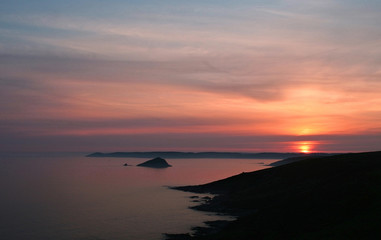 Sunset over Rame Head Cornwall