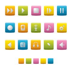 Matte Square Icons - Audio Colors