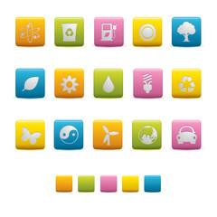 Matte Square Icons - Ecology Colors
