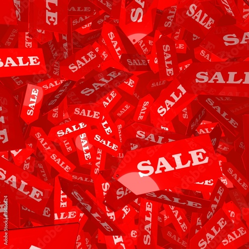3D Illustration of red SALE tags falling though the air