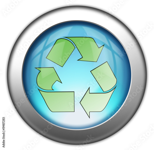 """Glossy 3D Button """"Recycling Symbol"""""""