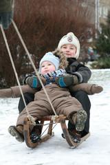 Winter fun - kids on sled