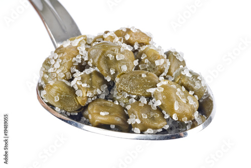 Spoonful of Capers in Salt