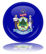 Maine State Round Flag Button (USA America Vector Reflection)