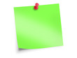green sticky note with red pin