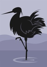 Illustration of a  crane standing in water