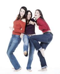 groupe de jeunes filles bonheur danse