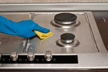 Polishing a gas stove
