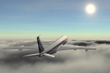 Plane on cloud flies on meeting with sun